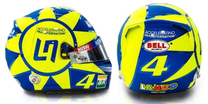 Svou helmou vzdává Norris v Itálii hold Rossimu